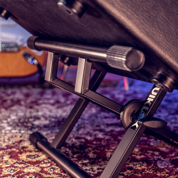 close up of amp stand shown with amp