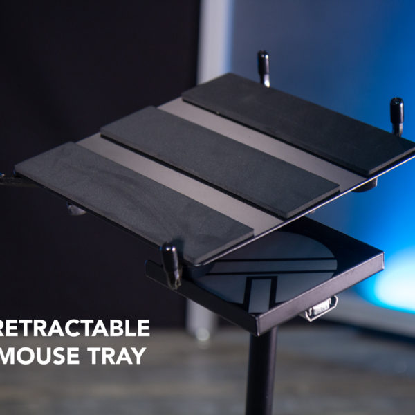 detail view of laptop stand mouse tray