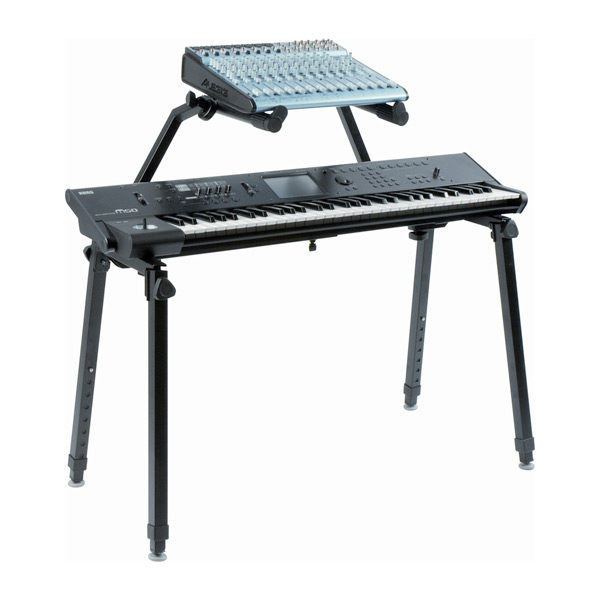 dual tier keyboard stand shown with keyboard and small mixer