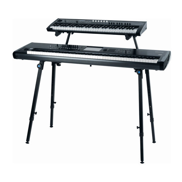 dual tier keyboard stand shown with two keyboards